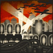 Night-scape Posters - Air Raid Poster by Milton Thompson