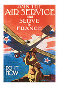 Patrotic Framed Prints - Air Service  Vintage ww1 art  Framed Print by Presented By American Classic Art