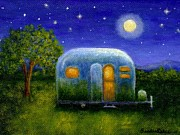 Silver Moonlight Painting Framed Prints - Air Stream Under The Stars Framed Print by Sandra Estes