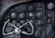 Vintage Photo Prints - Air - The Cockpit Print by Mike Savad