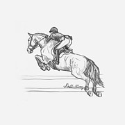 Dressage Drawings - Airborne by Gretchen Almy