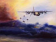 Army Paintings - Airborne Jump by Stephen Roberson