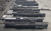 Enterprise Framed Prints - Aircraft Carriers In Port At Naval Framed Print by Stocktrek Images