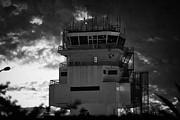 Canary Islands Metal Prints - aircraft control tower in early dawn light and cloudy sky at Tenerife Sur TFS Reina Sofia south airport tenerife canary islands spain Metal Print by Joe Fox