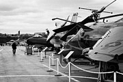 Manhatan Prints - Aircraft in a line on the flight deck of the USS Intrepid at the Intrepid Sea Air Space Museum usa Print by Joe Fox