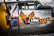 Airplane Radial Engine Framed Prints - Aircraft Nose Art - Pinup Girl - Miss Hap Framed Print by Gary Heller