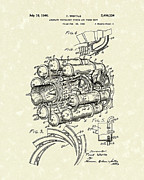 Patent Artwork Drawings Metal Prints - Aircraft Propulsion 1946 Patent Art Metal Print by Prior Art Design