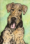 Pooch Drawings Posters - Airedale ink Poster by Meagan  Visser