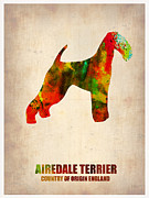 Terrier Art Painting Metal Prints - Airedale Terrier Poster Metal Print by Irina  March