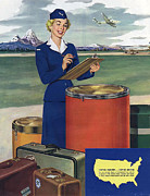 American Aircraft Posters - Airlines  1950s Usa Mcitnt Aviation Poster by The Advertising Archives