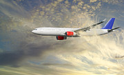 Passenger Plane Art - Airplane Flying Into Clouds Close-ups by Christian Lagereek