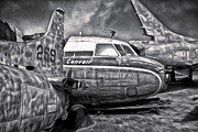 Planes Of Fame Posters - Airplane Graveyard - Black and White Poster by Gregory Dyer
