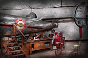 Transportation Tapestries Textiles Prints - Airplane - The repair hanger  Print by Mike Savad