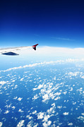 William Voon Prints - Airplane Wing Against Blue Sky Horizon Print by William Voon