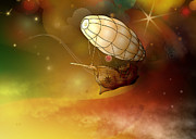 Mechanical Mixed Media Posters - Airship Ethereal Journey Poster by Bedros Awak