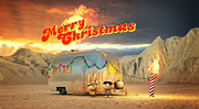 Airstream Prints - Airstream Burning Man Christmas Print by Rick Thompson