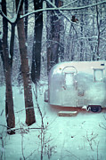 Trailer Posters - Airstream Trailer in Snowy Woods Poster by Jill Battaglia