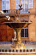Provence Photos - Aix Fountain Bird Bath by Brian Jannsen