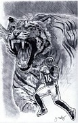 Hall Of Fame Drawings Framed Prints - A.J. Green Framed Print by Jonathan Tooley