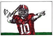 Ncaa Drawings Prints - AJ McCarron Print by Jeremiah Colley