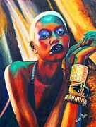 Neon Effects Painting Originals - Ajak Deng by Shirl Theis