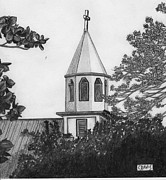 Buildings Drawings - Ajeltake Steeple by Lew Davis