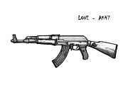 Ak Prints - AK - 47 gun drawin art poster Print by Kim Wang