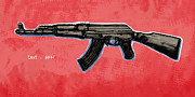Ak Prints - AK - 47 gun pop art drawin poster Print by Kim Wang