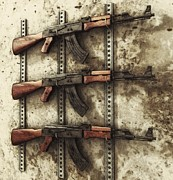 Liam Liberty Framed Prints - AK-47 Gun Rack Framed Print by Liam Liberty