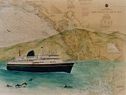 Map Art Painting Posters - AK State Ferry Boat Malaspina Chart Map Art Peek Poster by Cathy Peek