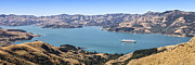 Liner Prints - Akaroa Harbour New Zealand with Queen Mary 2 Print by Colin and Linda McKie