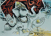 Ganapathi Paintings - Akhuratha One who has Mouse as His Charioteer by Ajay Kumar Samir