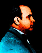 Tie Digital Art - Al Capone c28169 - Black - Painterly - Text by Wingsdomain Art and Photography