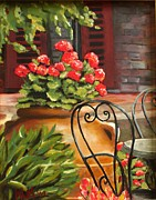 Table And Chairs Framed Prints - Al Fresco Framed Print by Karen Macek