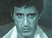 Al Pacino Framed Prints - Al Pacino Scarface  Framed Print by David Dunne