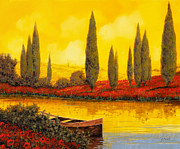 River Prints - Al Tramonto Print by Guido Borelli