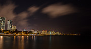 Ala Moana Framed Prints - Ala Moana Beach Park at night Framed Print by Tin Lung Chao