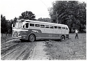 Rural School Bus Photos - Alabama bus in trouble 1953 by Matjaz Preseren