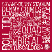 Bryant Denny Posters - Alabama College Colors Subway Art Poster by Replay Photos