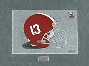 Sec Prints - Alabama Crimson Tide Helmet Print by Herb Strobino