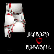 Abstract Map Framed Prints - Alabama Loves Baseball Framed Print by Andee Photography