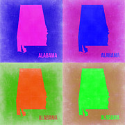 Alabama Framed Prints - Alabama Pop Art Map 2 Framed Print by Irina  March