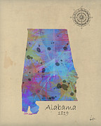 Watercolor Map Mixed Media - Alabama state map by Brian Buckley
