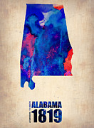 Alabama Prints - Alabama Watercolor Map Print by Irina  March