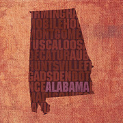 Alabama Mixed Media Posters - Alabama Word Art State Map on Canvas Poster by Design Turnpike