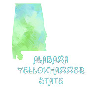 Abstract Map Posters - Alabama - Yellowhammer State - Map - State Phrase - Geology Poster by Andee Photography