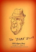Bear Bryant Drawings Posters - Alabamas Bear Bryant Poster by Greg Moores