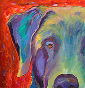 Pat Saunders-white Dog Paintings - Aladdin by Pat Saunders-White