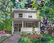 1933 Mixed Media - Alameda 1933 Duplex - American Foursquare by Linda Weinstock