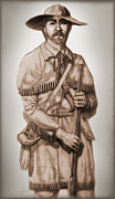 Remington Mixed Media Prints - Alamo Defender Frontiersman Print by Dan Terry